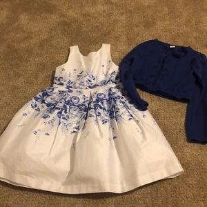 Janie and Jack White/Blue Dress with cardigan